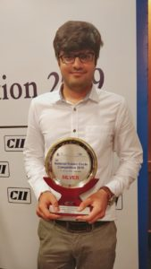 Mr. Abhishek Goyal with the Second Prize Trophy